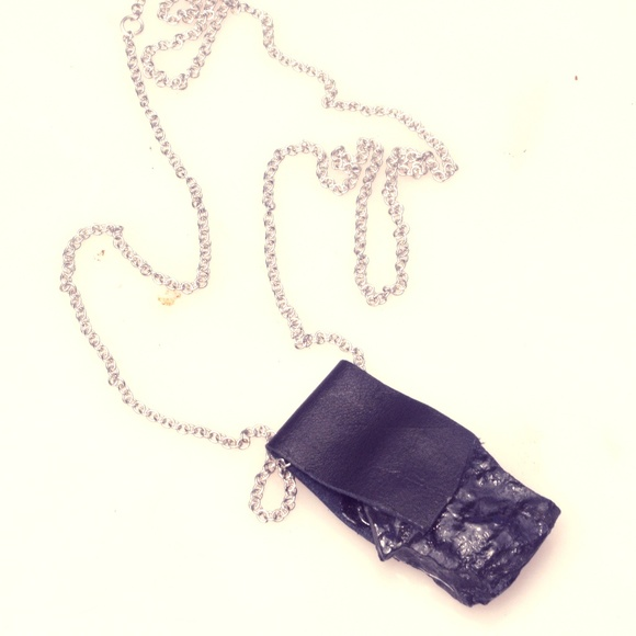 Conceptual Subculture Jewelry - Shungite Pendant Silver Leather Necklace EMF 5G